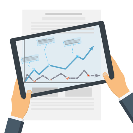 Statistical data presented in the form of digital graphs and charts on the tablet in the hands of a businessman, on top of the document.  Financial analysis, statistics. Vector illustration, flat design.