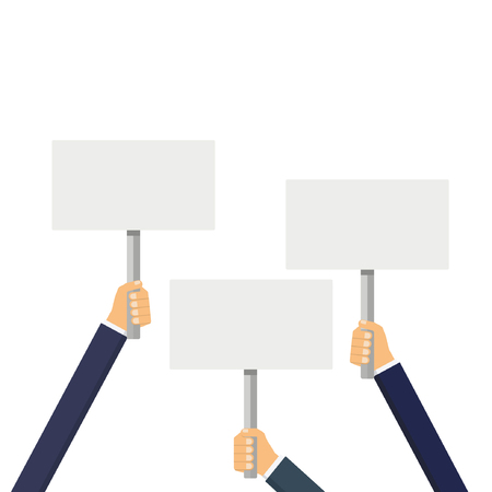 Hands holding blank banner mock up.  Hands holding blank picket placard. Empty protest sign. Vector illustration, isolated.