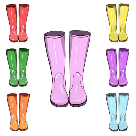 Botas de goma, botas de goma. Dibujado a mano, ilustración vectorial aislada. Protéjase del agua y del terreno fangoso
