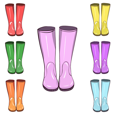 Stivali di gomma, stivali di gomma. Disegnato a mano, illustrazione vettoriale isolato. Proteggere dall'acqua e dal terreno fangoso