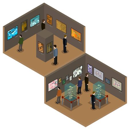 Vector isometric low poly museum or art gallery interior