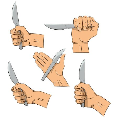 Hand draw. Knife in hand. Kitchen tools. Outline cooking gesture. Cooking hand isolated on white background.