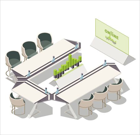Vector isometric office, meeting room, conference room interior. Tv screen showing diagram charts , chairs, stand with 3d diagram, botle and glass of water on table.