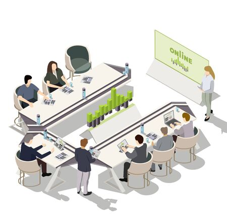 Flat 3d isometric business meeting. Research report team planning. People discuss project. Illustration of a business presentation meeting around a tables. Vector isolated on white background.