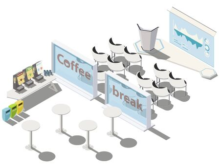 Vector isometric, 3d conference, meeting room. Business training or courses concept with tribune, scene, infographicon screen, coffee break zone, separate bins. Can use for web banner. Isolated on white background. Illusztráció