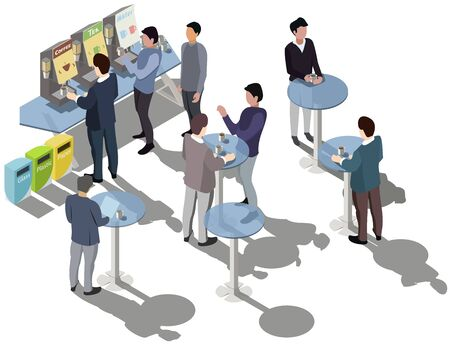 Coffee break. Business People Drinking Coffee. Machines makes coffee, tea. Water cooler. People drink coffee, cup latte, cappuccino or espresso. Recycle Bin. Vector isometric, 3d, illustration.