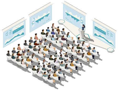 Business conference. Business presentation. Woman speech. Indicators and schedules process, coaching. Vector isometric, 3d, illustration.