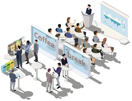 Business conference. Business presentation, meeting room. Business training or courses concept with tribune, scene, infographic on screen, coffee break zone. Vector isometric, 3d, illustration. Vectores