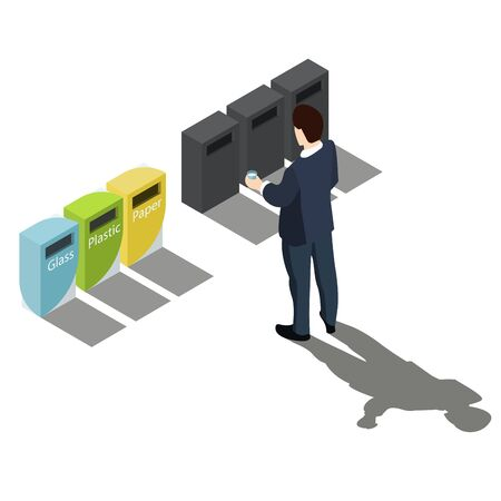 Garbage sorting. Man in a business suit decides where to drop a glass. No name dustbin. On white background. Vector isometric, 3d, illustration. Vectores