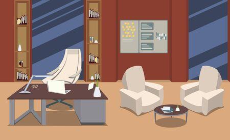 Vektorbüroinnenraum mit Arbeitsplatz. Mitarbeiterarbeitsplätze, Schreibtischreihe mit Laptop, Tablet-PC, Lampe, Stuhl, Sessel, Fenster.