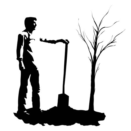 Concept new business project. Laying the foundation for the future in the form of a tree. Silhouette of a man planted a tree. Work in the garden. Vector
