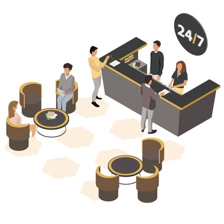 Customers at the reception. Receptionist at the counter welcoming. Reception service hotel desk. Customers are waiting in the armchairs at the coffee table. Isometric Vector illustration, 3d.