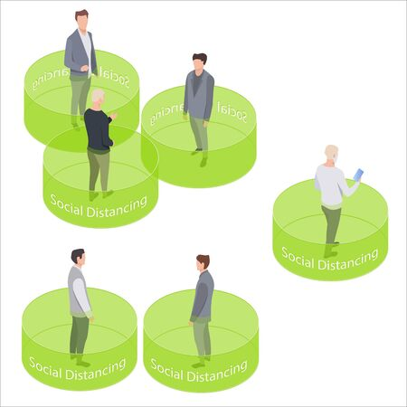 Vector isometric social distancing. People keeping distance for infection risk and disease. Protect from virus Covid-19. Safe area by keeping a distance from people in public areas.