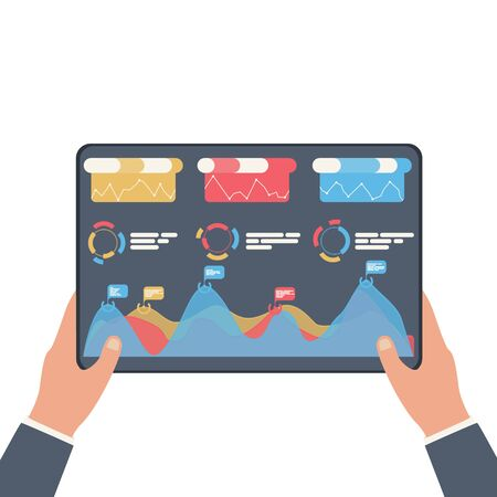 Statistical data presented in the form of digital graphs and charts on the tablet in the hands of a businessman. Financial analysis business concept on screen. Vector illustration, flat design.