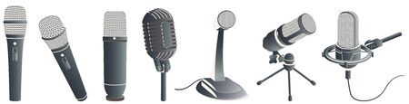 Vector microphones set. Modern microphones in different styles for voice record. Illustration isolated on white background.
