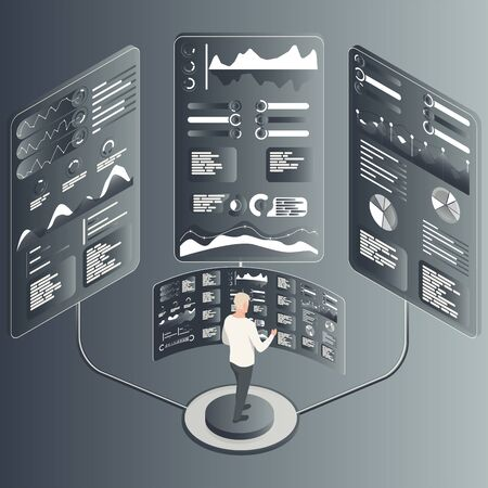 Isometric concept. Man with statistics data, analytics, information, technology. Notification on financial transaction. Analysis and statistic online services. Vectores