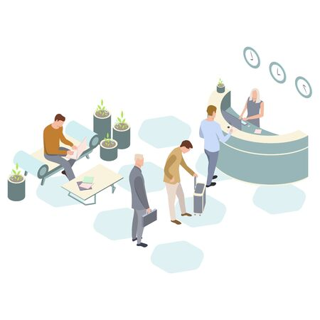 Isometric Vector hotel reception. Receptionists at the counter welcoming. Reception service hotel desk. Customer are working at the coffee table. Illustration, 3d. Vectores