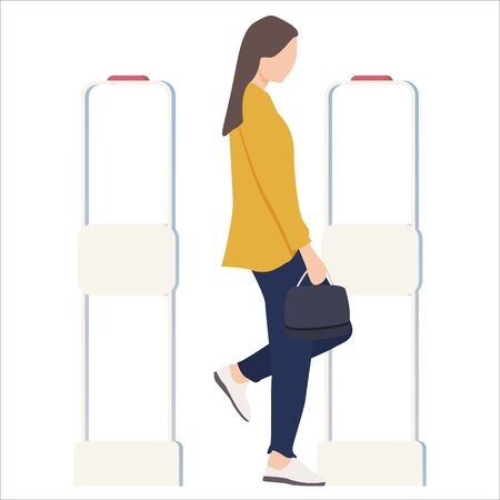 Woman goes through anti-theft sensor gates. Security system detect barcode and notify. Vector, illustration.