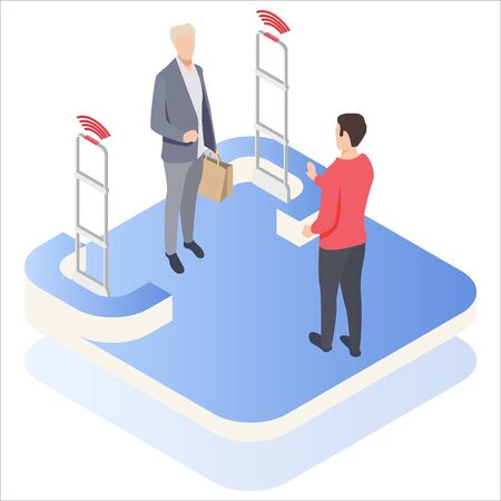 Man goes through anti-theft sensor gates. System reports theft. Security system detect barcode and notify. Isometric, vector, illustration.