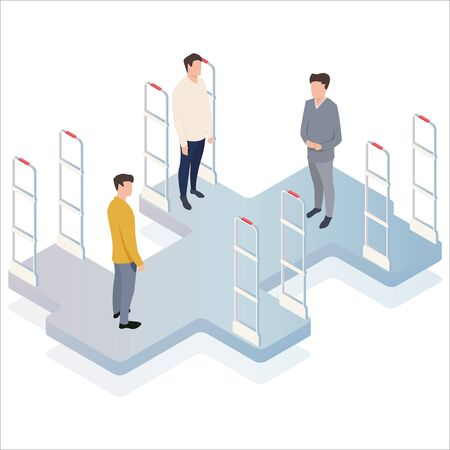 People go through anti-theft sensor gates. Security system detect barcode and notify. Isometric, illustration, vector. Vektorové ilustrace