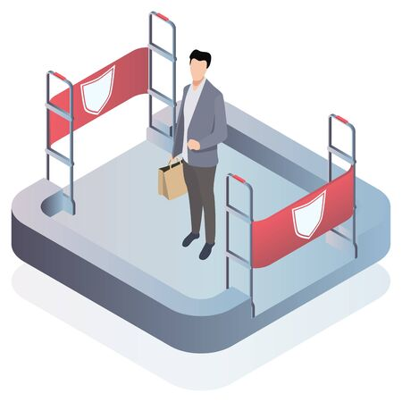 Isometric Vector illustration, 3d. preventing shoplifting scanner gate system on all sides. Security system detect barcode and notify. Anti-theft sensor gates. Vectores