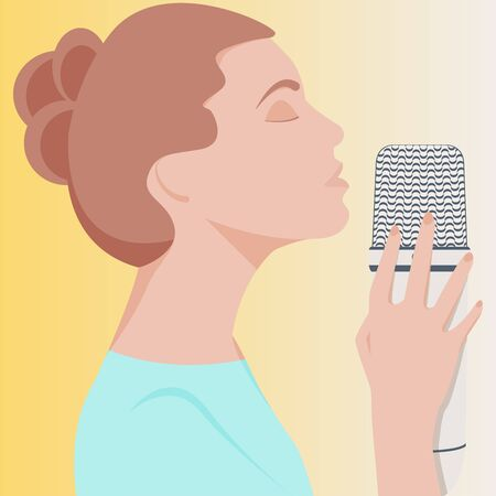 Vector ASMR concept. Young woman with close eyes and brown hair use the microphone to make massage, whisper, rustling. Girl blogger enjoying sound. Autonomous sensory meridian response. Illustration
