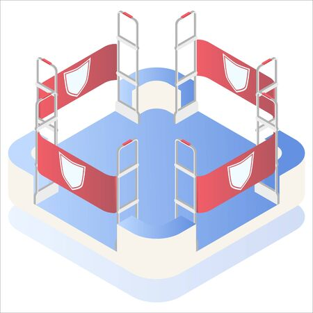 Isometric vector. Preventing shoplifting scanner gate system on all sides. Anti-theft sensor gates with. Security system detect barcode and notify. Vectores