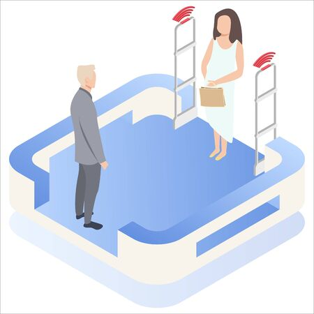 Woman goes through anti-theft sensor gates. System reports theft. Security system detect barcode and notify. Isometric, vector, illustration. Vectores