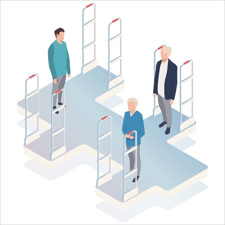 Isometric, vector illustration, people go through anti-theft sensor gates. Security system detect barcode and notify.