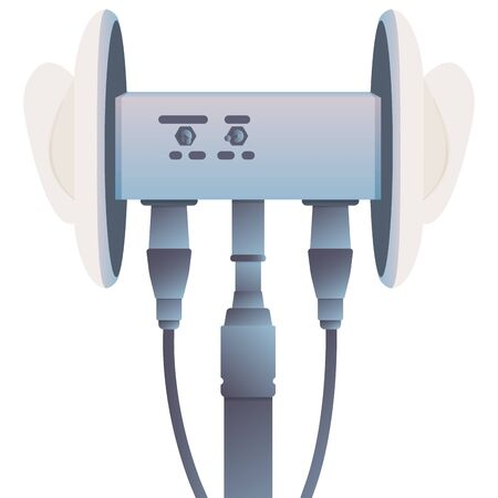 Concept of binaural microphone for ASMR. Microphone for blogger to make massage, whisper, rustling. Autonomous sensory meridian response. Illustration, isolated.
