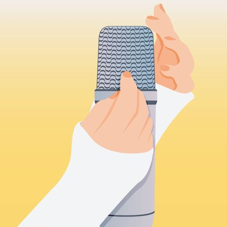 Concept of microphone for ASMR. Microphone with hands make massage, whisper, rustling. Autonomous sensory meridian response. Illustration, isolated. Vectores