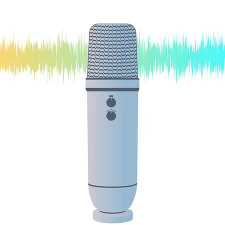 ASMR Microphone on white Vectores