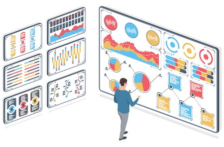 Man with statistical data. Infographic presented in the form of digital graphs and charts on tablet. Financial analysis business concept on screen. Sales statistics. Vector illustration, isometric.