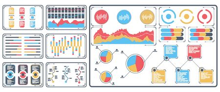 Statistical data presented in the form of digital graphs and charts on the tablet. Financial analysis business concept on screen. Vector illustration, flat design.