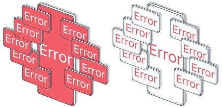Vector, isometric mobile screen with error, alarm and hazard notification.. Error on red screen mobile. Horizontal, white background. Isolated flat.