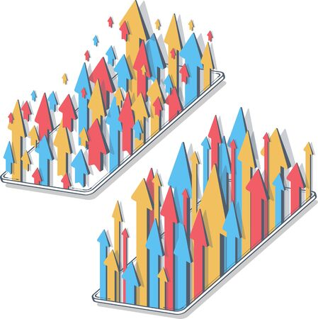 Isometric business growth arrows to success on mobile devices vector. Gadget with different color arrows. 3D illustrations, concept, white background.