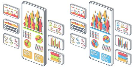 Statistical analysis on mobile devices vector. Analytical, success, research, idea with isometric illustrations. Data science, investment strategy development web banner 3D concept, white background.
