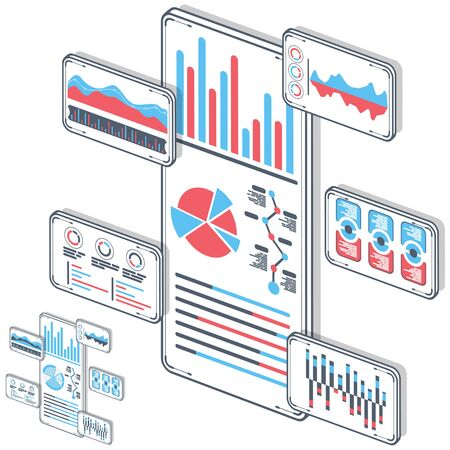 Statistical analysis on mobile devices vector. Analytical, success, research, idea with isometric illustrations. Gadget with different graphs charts and diagram. 3D concept, white background.