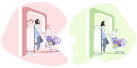 Set Vector illustration, Woman goes through anti-theft sensor gates. Security system detect barcode and notify. anti-theft door sensors signal. Green color of frame - no stolen items. Red color of frame - some item was stolen.