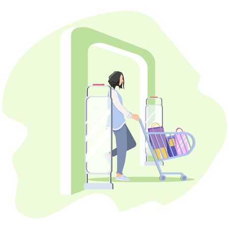 Vector illustration, Woman goes through anti-theft sensor gates. Security system detect barcode and notify. anti-theft door sensors signal. Green color of frame - no stolen items.