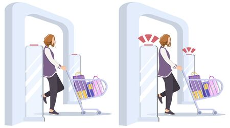 Set Vector illustration, Woman goes through anti-theft sensor gates. Security system detect barcode and notify. anti-theft door sensors signal. No signal from gates - no stolen items.