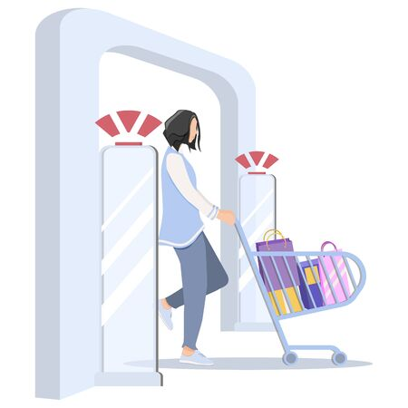 Vector illustration, Woman goes through anti-theft sensor gates. Security system detect barcode and notify. anti-theft door sensors signal. Vectores