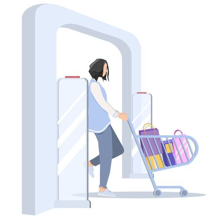 Vector illustration, Woman goes through anti-theft sensor gates. Security system detect barcode and notify. No signal from gates - no stolen items.