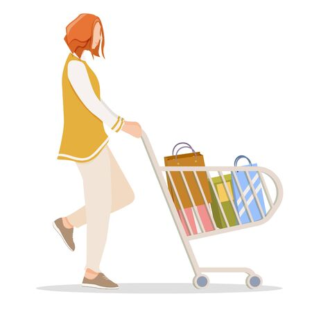 Woman with red hair buys gifts, accessories. Shopping in a retail stores with trolley. Shopping in grocery store, supermarket or retail shop. Vector, illustration. Illustration