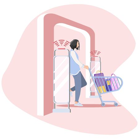 Vector illustration, Woman goes through anti-theft sensor gates. Security system detect barcode and notify. anti-theft door sensors signal. Red color of frame - some item was stolen.