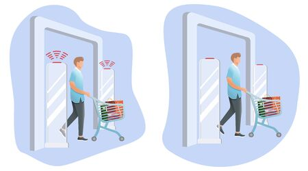 Man goes through anti-theft sensor gates. System reports theft. Security system detect barcode and notify. Vector, illustration. No signal from gates - no stolen items. Vectores