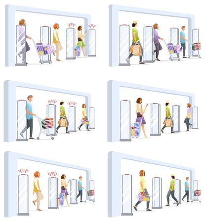 Set of shoplifting situation with anti-theft sensor gates. System reports theft. Security system detect barcode and notify. No signal from gates. People goes through sensors. Vector, illustration.
