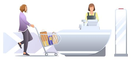 Shopping in store. Woman customer with trolley and paper bag in it, stand near cashier desk with female cashier. Shoplifting security with anti-theft sensor. Vector, illustration isolated on white.