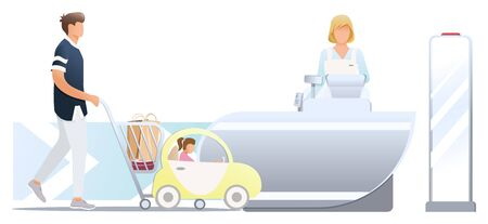 Shopping in store. Male customer and his dother with trolley, stand near cashier desk with female cashier. Trolley for kid and child. Anti-theft sensor gates. Shoplifting security system situation with anti-theft sensor. Vector, illustration isolated on white background.