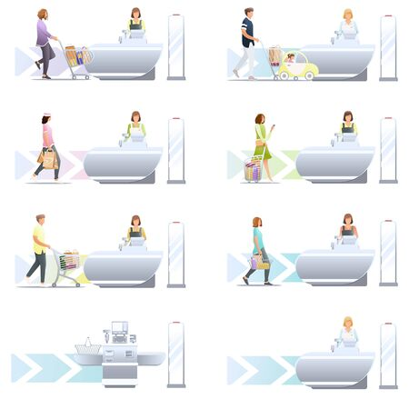 Set of various Shopping in store vector flat illustration. Collection of different man, woman, family and child with trolley and shopping cart isolated on white. Self-service cash machine. Shoplifting security with anti-theft sensor.